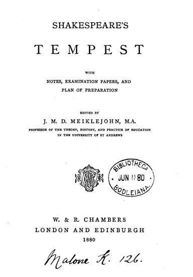 Shakespeare s Tempest  with notes  examination papers  and plan of preparation  ed  by J M D  Meiklejohn PDF
