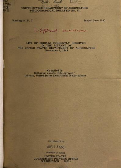 List of Serials Currently Received in the Library of the United States Department of Agriculture PDF