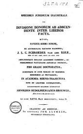 Specimen juridicum inaugurale de divisione bonorum ab adscendente inter liberos facta