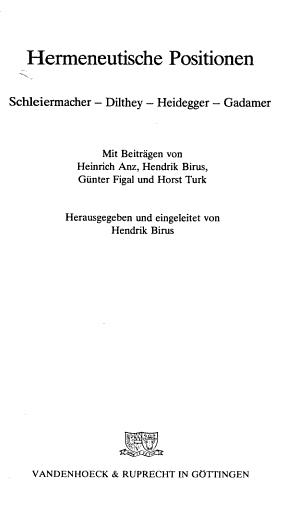 Hermeneutische Positionen PDF