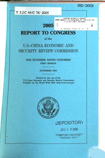 Report to Congress of the U S  China Economic and Security Review Commission PDF