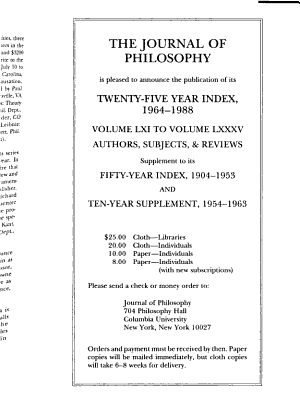 The Journal of Philosophy PDF