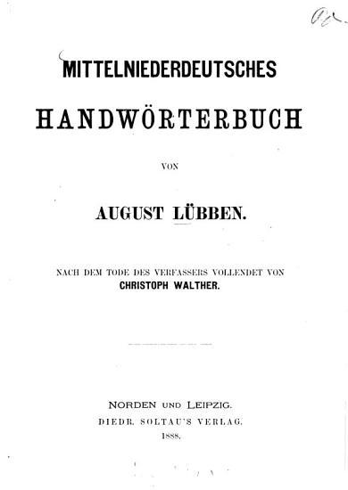 Mittelniederdeutsches Handw  rterbuch PDF