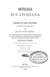 Antologia ecuatoriana: Cantares del pueblo ecuatoriano
