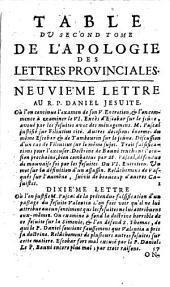 Apologie des Lettres provinciales contre la dern. réponse des PP. Jésuites, intitulée Entretiens de Cléandre et d'Eudoxe [du P. Daniel].