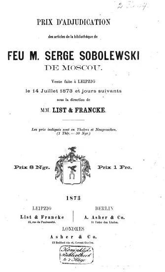 Auktionskatalog  B  cher von Serge Sobolewski  14  Juli 1873 PDF