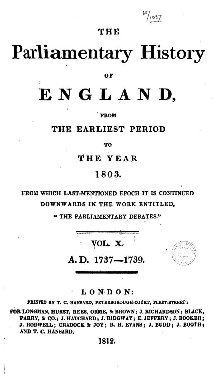Cobbett's Parliamentary History of England: 1737-1739