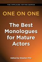 One on One  The Best Monologues for Mature Actors PDF