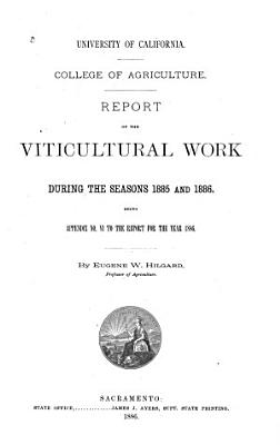 Report of the Viticultural Work During the Seasons PDF