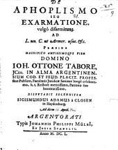 De Aphoplismo Seu Exarmatione, vulgò disarmirung: Ad L. un. C. ut Armor. usu. &c
