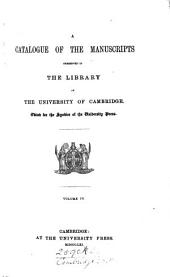A Catalogue of the Manuscripts Preserved in the Library of the University of Cambridge: Ll.i.1 - Qq. Vol.5: Baker and Baumgartner mss. Index, corrigenda