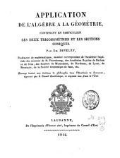 Application de l'algèbre à la géométrie: ouvrage destiné aux étudiants de philosophie dans l'académie de Lausanne, approuvé par le conseil académique