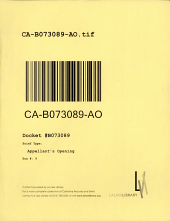 California. Court of Appeal (2nd Appellate District). Records and Briefs: B073089, Appellant's Opening
