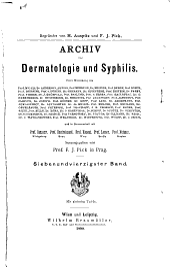 Archiv für Dermatologie und Syphilis: Bände 47-48