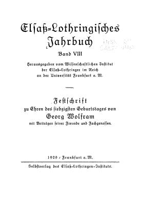 Elsass Lothringisches Jahrbuch PDF