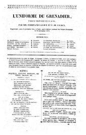 L'uniforme du grenadier tableau militaire en un acte par MM. Ferdinand Laloue et F. de Coucy, représenté pour la première fois à Paris sur le théâtre... du Cirque Olympique le 28 décembre 1839