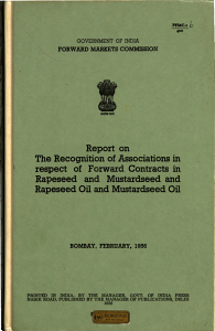 Report on the Recognition of Associations in Respect of Forward Contracts in Rapeseed and Mustard seed and Rapeseed Oil and Mustard seed Oil PDF