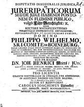 Disputatio inauguralis juridica de jure ripaticorum seu de jure habendi pontonem in flumine publico, vulgo, Fähr-Berechtigkeit, etc. Praes. J. H. Meier