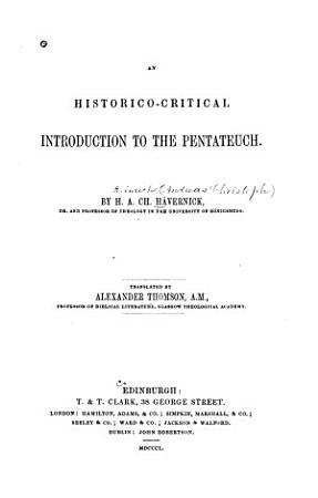 An Historico critical Introduction to the Pentateuch PDF