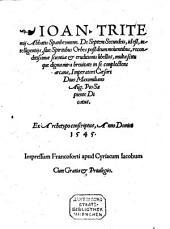De septem secundeis, id est, intelligentiis, sive spiritibus orbes post Deum moventibus ... libellus