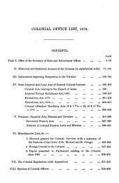 The Colonial Office List for: Volume 17, Part 1878