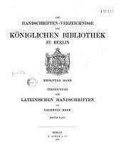 Verzeichniss der Lateinischen Handschriften der Königlichen Bibliotek zu Berlin: Band 12