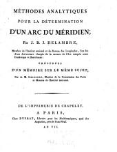 Méthodes analytiques pour la détermination d'un arc du méridien