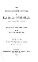 The Ecclesiastical History of Eusebius Pamphilus  Bishop of Caesarea  in Palestine PDF