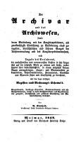 Der Archivar und das Archivwesen PDF