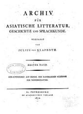 Archiv für asiatische Litteratur, Geschichte und Sprachkunde