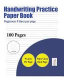 Handwriting Practice Paper Book  Beginners 9 Lines Per Page