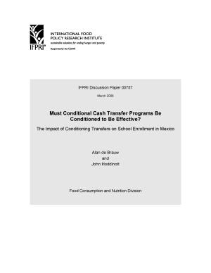 Must Conditional Cash Transfer Programs Be Conditioned to Be Effective   The Impact of Conditioning Transfers on School Enrollment in Mexico