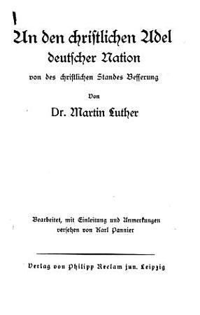 An den christlichen Adel deutscher Nation PDF