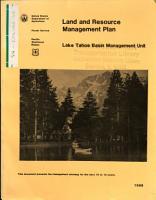 Lake Tahoe Basin Management Plan Land and Resource s  Management Plan  LRMP   CA NV  PDF