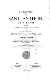 Le Mystère de Sant Anthoni de Viennès, publić d'après une copie de l'an 1503 et sous les auspices de la Société d'études des Hautes-Alpes