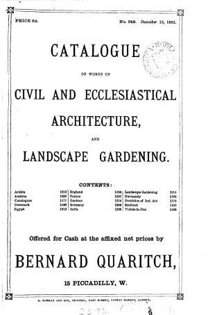 CATALOGUE OF WORKS ON CIVIL AND ECCLESIASTICAL ARCHITECTURE,AND LANDSCAPE GARDENING.