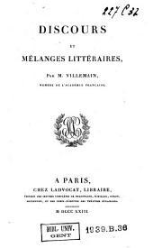 Discours et mélanges littéraires