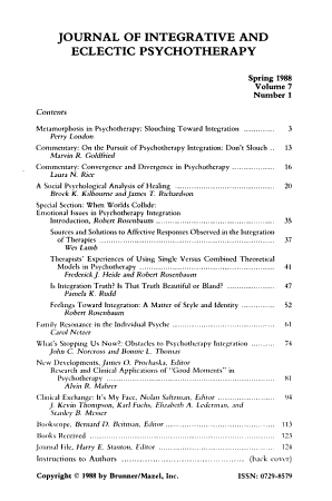 Journal of Integrative and Eclectic Psychotherapy PDF