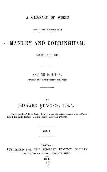 A Glossary of Words Used in the Wapentakes of Manley and Corringham  Lincolnshire PDF