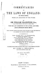 Commentaries on the Laws of England: In Four Books; with an Analysis of the Work, Volume 2