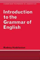 Introduction to the Grammar of English PDF