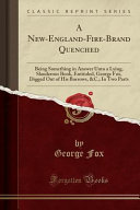 A New England Fire Brand Quenched