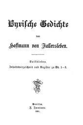 Hoffmann's von Fallersleben gesammelte werke: Band 3