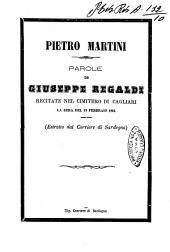 Pietro Martini parole di Giuseppe Regaldi recitate nel cimitero di Cagliari la sera del 19 febbraio 1866