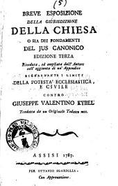 Breve esposizione della giurisdizione della chiesa o sia Dei fondamenti del jus canonico ... tradotta da un originale tedesco mss
