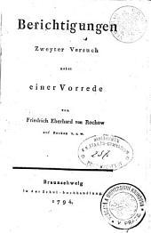 Berichtigungen: nebst einer Vorrede. Zweyter Versuch, Band 2