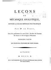 Leçons de mécanique analytique: Volume1