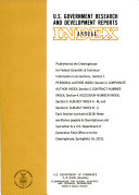 U S  Government Research and Development Reports Index