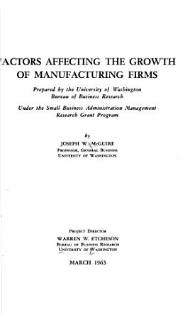 Factors Affecting the Growth of Manufacturing Firms PDF