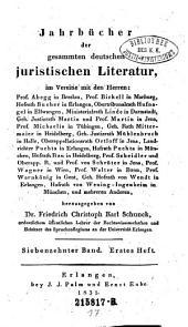 Jahrbücher der gesammten deutschen juristischen Literatur: Band 17